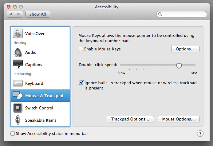 Disable MacBook Trackpad when mouse is connected