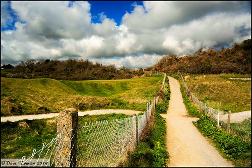 sky southwales wales clouds fence coast coastal golfcourse footpath pembrokeshire tenby wirefence concreteposts