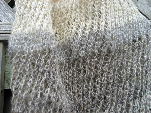 Mid-section detail of hand prepared handspun wool knitted bag by irieknit