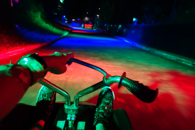 RGB LED Lights all over the tracks on the Luge Ride in Sentosa