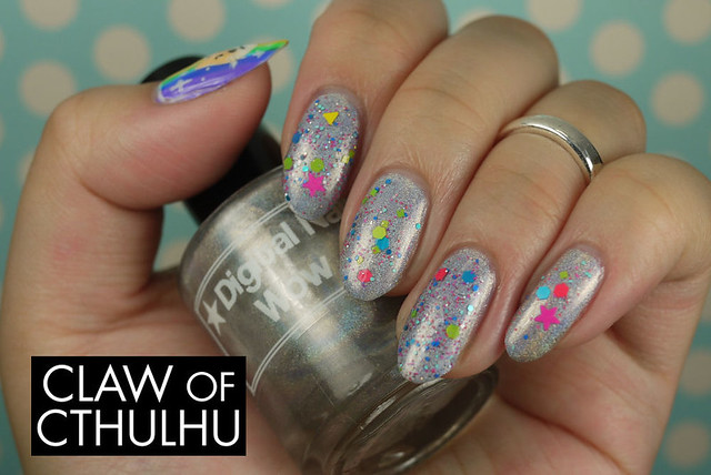 Digital Nails Much Glitter Swatch (over Digital Nails Wow)