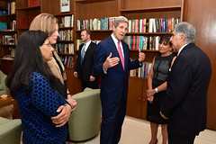 U.S. Secretary of State John Kerry, joined by U.S. Commerce Secretary Penny Pritzker, right, Embassy New Delhi Charge d-Affaires Kathleen Stephens, center, and U.S. Assistant Secretary of State for South and Central Asian Affairs Nisha Desai Biswal, chat with Tata Trusts CEO Ratan Tata before a working dinner on July 30, 2014, with Indian and American businessmen at Roosevelt House - the U.S. Ambassador's Residence in New Delhi, India - after the two Cabinet members traveled to the country for a Strategic Dialogue with their Indian counterparts. [State Department photo/ Public Domain]