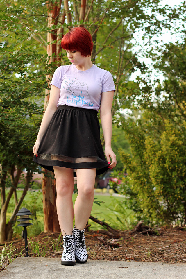 Purple Band T-shirt with a Black Skirt with Mesh Cutout and Polka Dot Boots