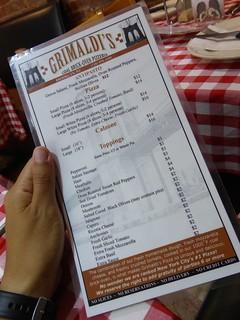 Carta de Precios Grimaldi's Pizza - Brookling