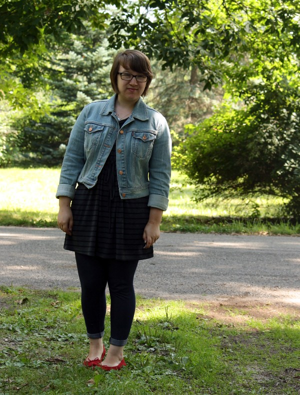 denim jacket, striped tunic, jeggings, red flats