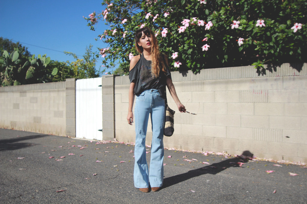 shredded moto tee and BDG bell bottoms Urban Outfitters, suede brown Zara boots, For Love and Lemons Love You Knot Bondage Bralette