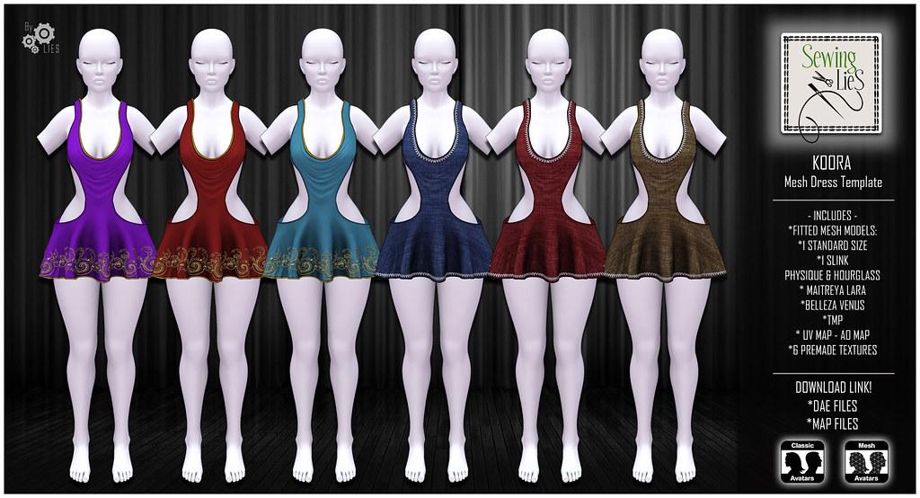 Koora Mesh Dress Template 2 - SewingLies - SecondLifeHub.com