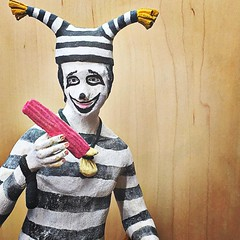 One of my favorite pieces today was probably the Native American fugitive mime offering me a strip on bacon.