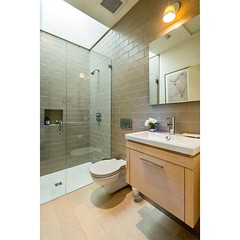 Bathroom with floating #vanity and #shower with #skylight.  #amazing #style #luxury #lifestyle #interiordesign #architecture #interiordesigners #architects #luxuryrealestate #realestate #photography #dwell #architecturalphotography #interiordesignphotogra