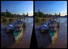 River Elbe high tide in 2013 in 3-D / Stereoscopy / CrossEye / HDR / Raw