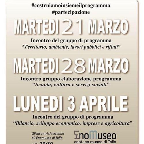 Lunedì 3 Aprile dalle 20,30 all'EnoMuseo incontro gruppo programma Lista Civica Progetto Tollo