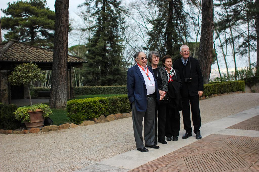 From left: Bob Appel ('53), Carol Randel, Helen Appel ('55), and Don Randel outside Villa Aurelia.  photo / Jessica del Mundo