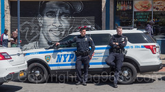 NYPD Police Officers with Patrol Car near Yankee Stadium, The Bronx, New York City