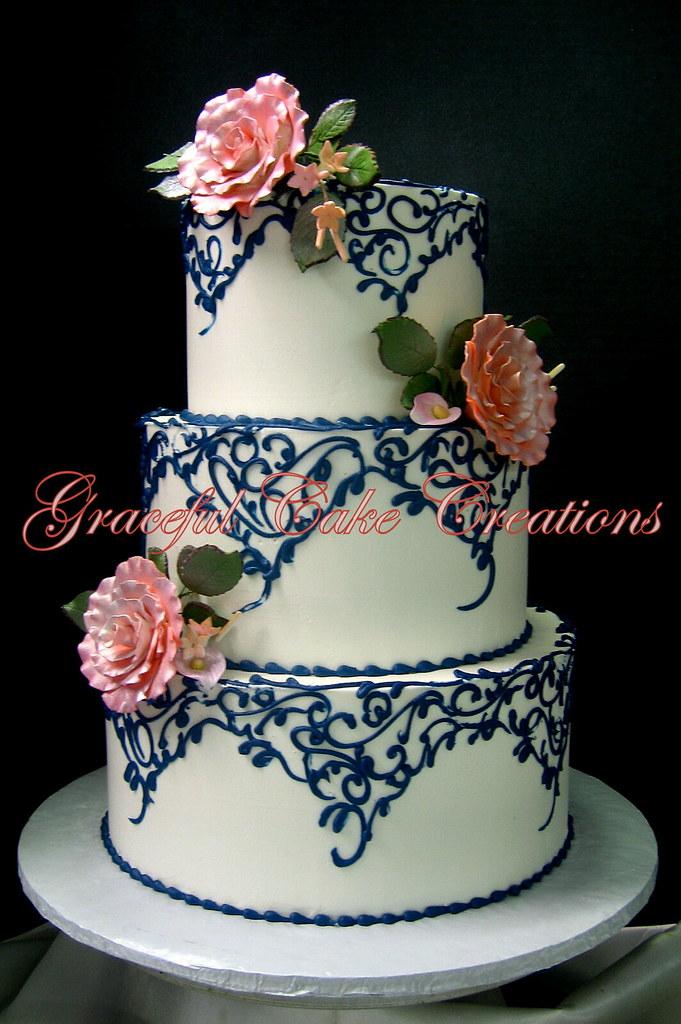 Navy Coral Wedding Cake