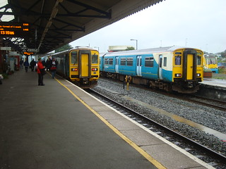 Arriva Trains Wales DMUs of three different classes (153, 150 and 175) at Carmarthen station