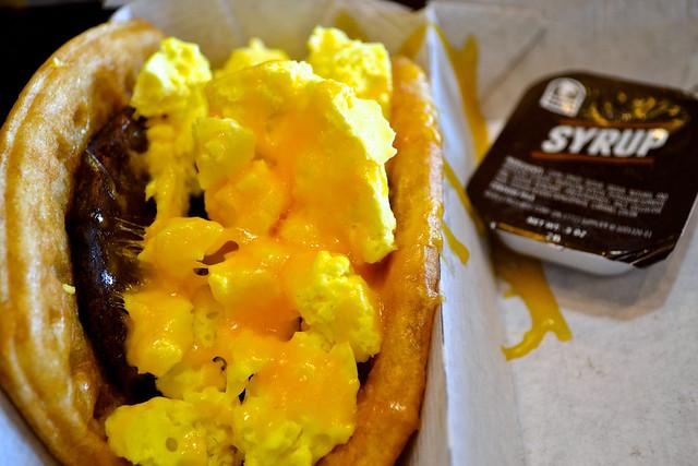 waffle sausage taco