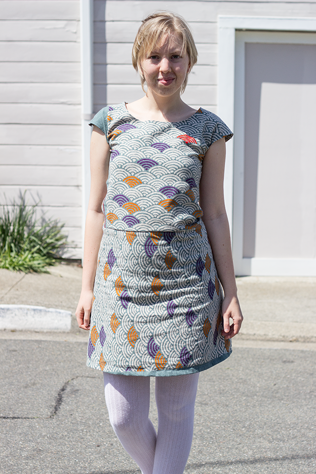 handmade dress, Japanese wave-pattern fabric, white tights, red Mary Jane flats
