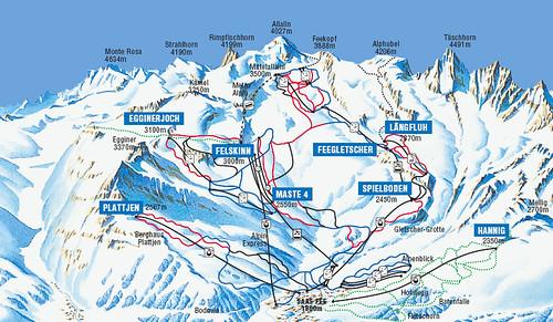 Saas Fee Piste Map
