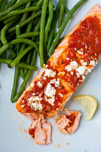 Salmon with Roasted Red Pepper Tapenade and Goat Cheese