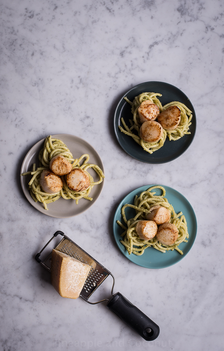 14048368390 557830482b o Pea Shoot Pesto Bucatini with Seared Sea Scallops