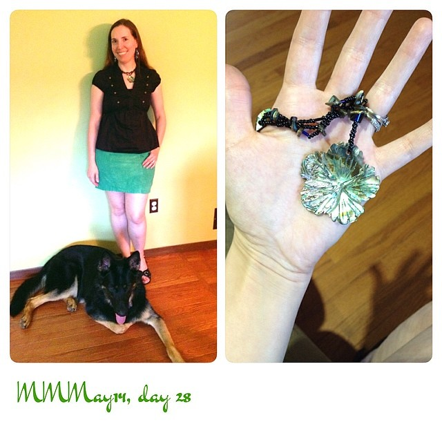 I forgot how short this skirt turned out! Me-made Cake Hummingbird skirt/necklace, purchased top. #mmmay14