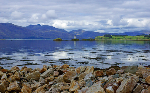 sea lighthouse water clouds scotland highlands loch