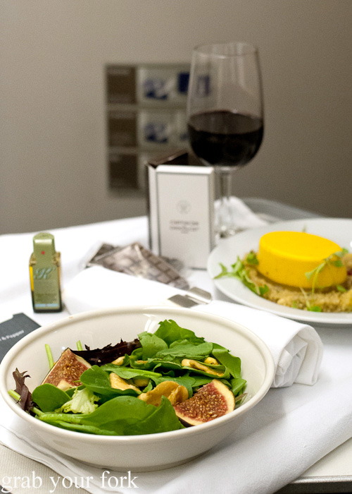 Fresh seasonal salad entree on British Airways business class London to Singapore
