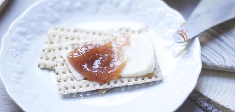 Rhubarb cheese matzo