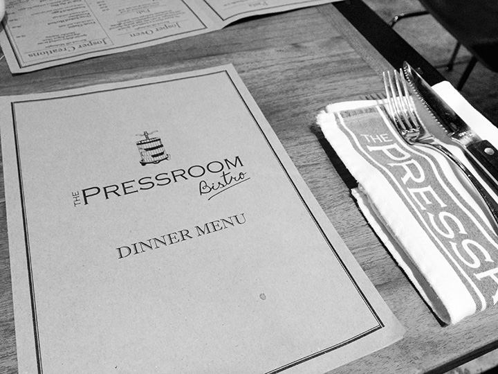 the pressroom bistro menu