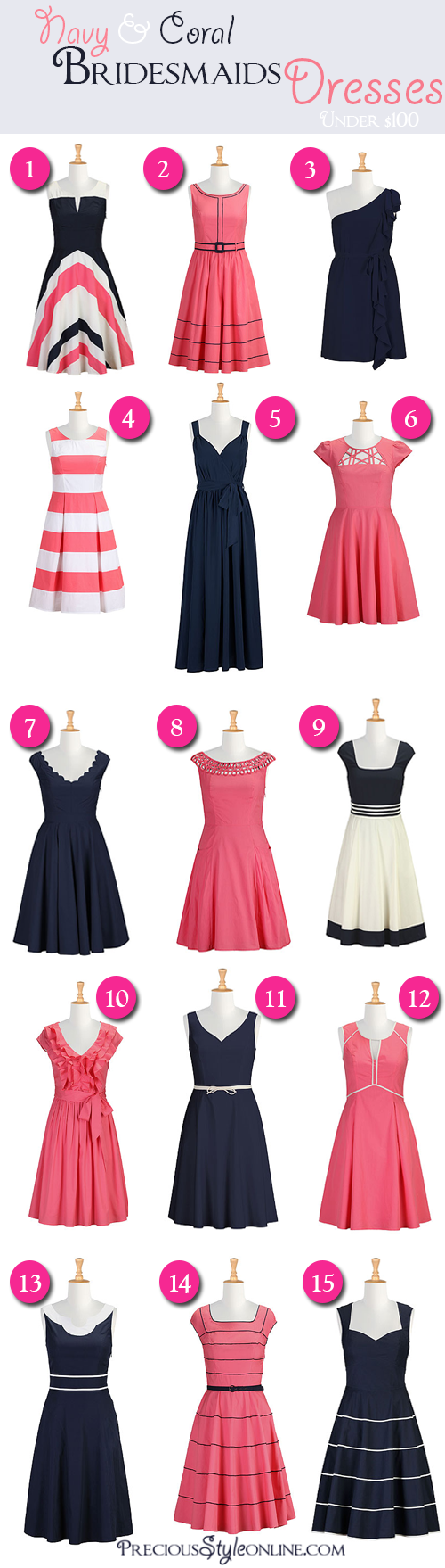 Navy & Coral Dresses