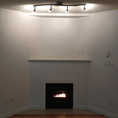 White modern fireplace