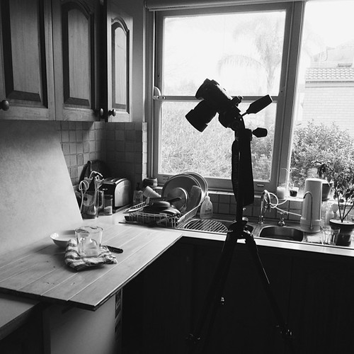 I never shoot in the kitchen... Not pictured, the chair I had to stand on to see through the viewfinder. Also not pictured, RJ as assistant who did not require said chair and who was paid in baked goods  #behindthescenes #foodphotography #vscocam #vsco #b