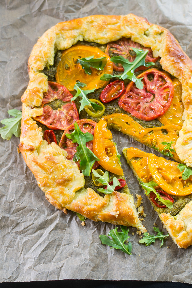 Heirloom Tomato Galette with Arugula Pesto via LittleFerraroKitchen ...