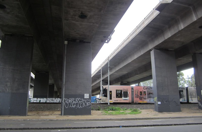 Tram line below Westgate Freeway