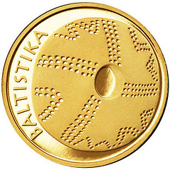Lithuania 10 litu coin on science reverse
