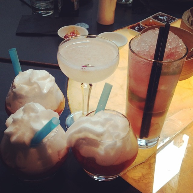 Free round of drinks since they lost our order  Strawberry muddled with tequila and aloe foam! Great lunch with @fransgaard @igabrielVH Michelle & Arif