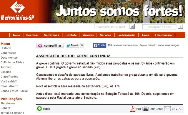 Print Screen do site do sindicato dos metroviários