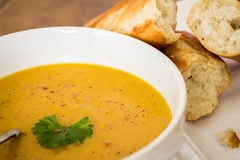 SPICED BUTTERNUT SQUASH SOUP & CRUSTY BREAD