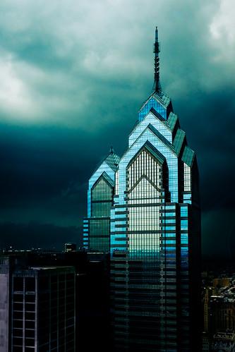street city urban storm reflection philadelphia glass rain architecture clouds contrast dark moody fuji philly 23mm x100s