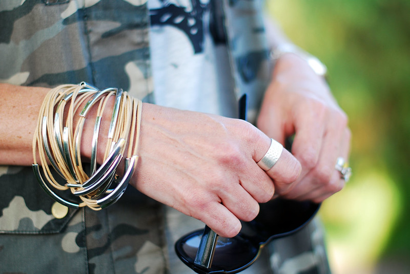 Camo jacket and silver jewellery