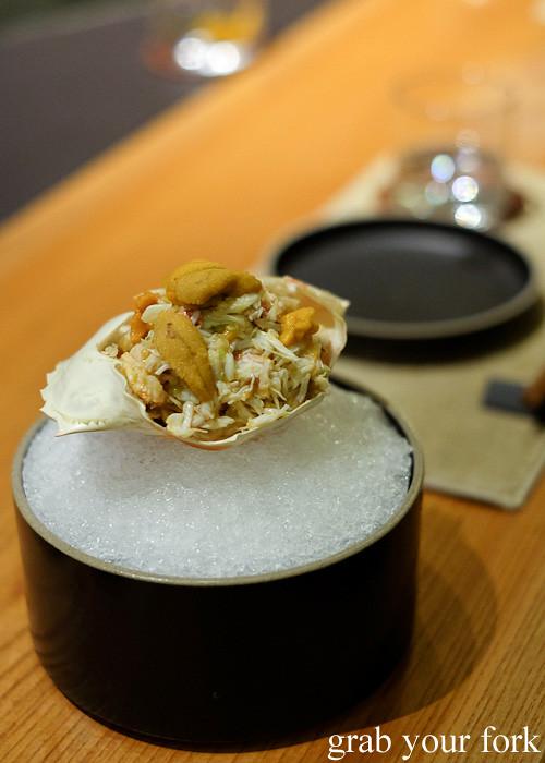 Flower crab with uni and mitsuba at Ronin, Hong Kong