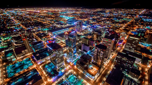 Phoenix Arizona Downtown Night Aerial Photo from Helicopter