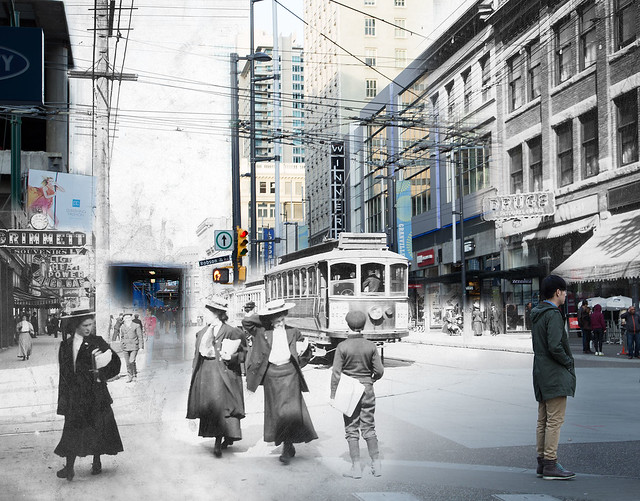 Granville Street, looking north from Robson Street - 190?