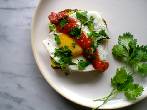 cilantro avocado toast with fried egg and salsa