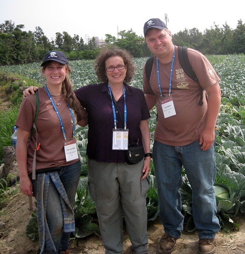 NRCS' National Leader for Soil Interpretations Maxine Levin, center, with U.S. soil judgers Emily Salkind and Kyle Weber.