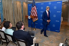 U.S. Secretary of State John Kerry departs after announcing a United Nations-backed 72-hour ceasefire in fighting between Israel and Hamas in the Gaza Strip during an early morning news conference in New Delhi, India, on August 1, 2014. [State Department photo/ Public Domain]