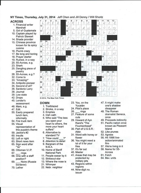 NYT Thursday Puzzle - July 31, 2014