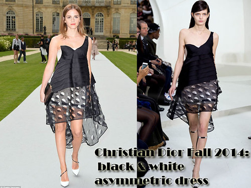 Black & white asymmetric dress & floral skirt: Christian Dior collection