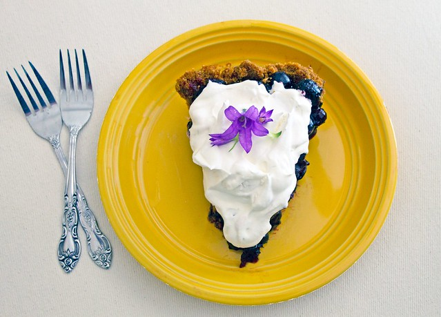 No-Bake Blueberry Pie with Gingersnap Crust