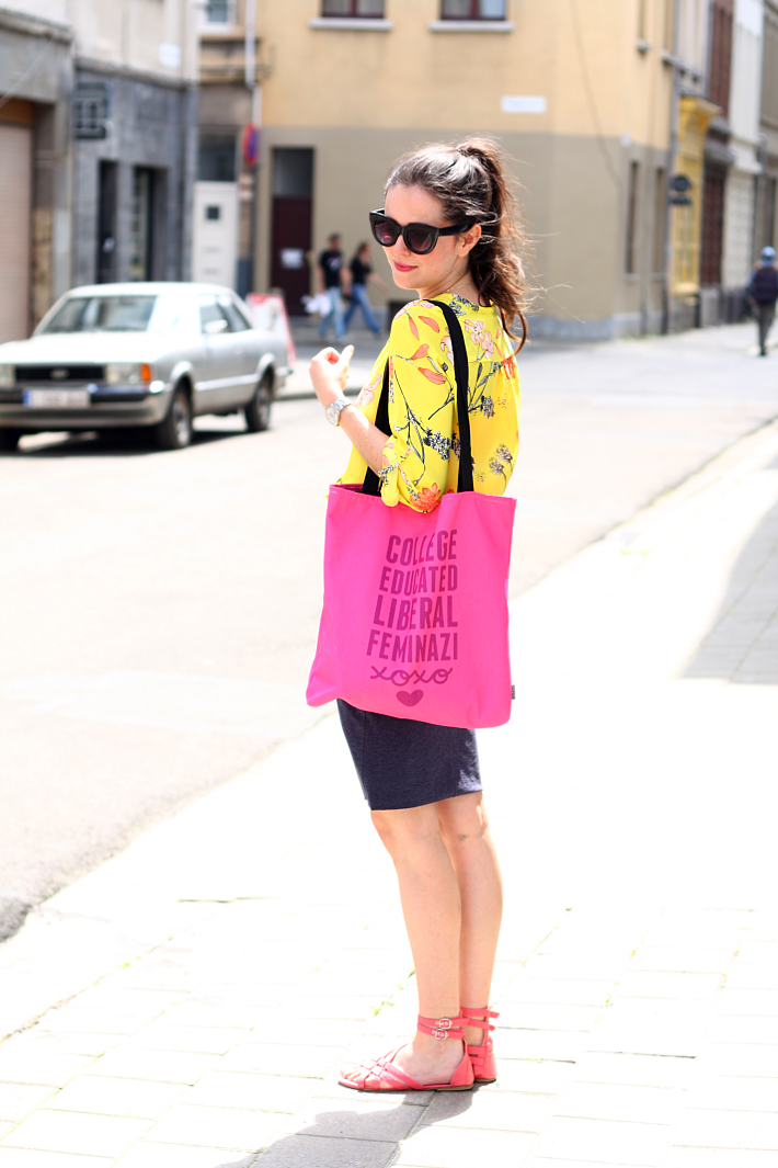Yellow Floral and Feminazi Tote